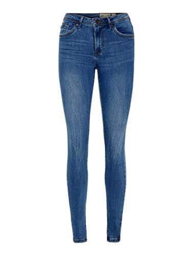 2047 1 vero moda damen vmtanya mr s p | VERO MODA Damen VMTANYA MR S Piping VI349 NOOS Skinny Jeans, Blau (Medium Blue Denim Medium Blue Denim), 38/L30 (Herstellergröße: M)