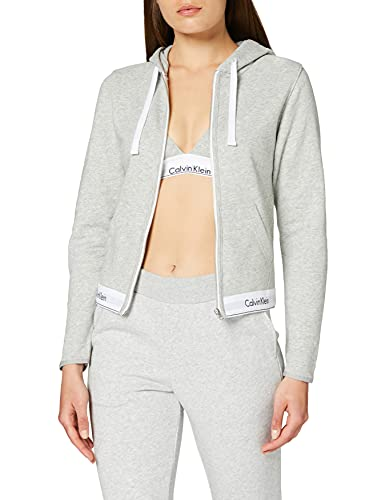 2530 1 calvin klein damen top hoodie | Calvin Klein Damen TOP Hoodie Full Zip Kapuzenpullover, Grau (Grey Heather 020), One Size (Herstellergröße: S)