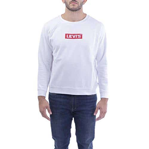 2864 1 levis damen relaxed graphic s | Levi's Damen Relaxed Graphic Sweatshirt, Weiß (Crew Box Tab White+ 0092), Small