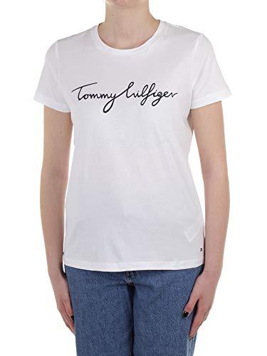 2968 1 tommy hilfiger damen heritage | Tommy Hilfiger Damen HERITAGE CREW NECK GRAPHIC TEE Regular Fit T-Shirt, Weiß (Classic White 100), Large ( Herstellergröße: L)