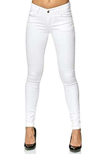 3010 1 elara damen stretch hose push   Elara Damen Stretch Hose Push Up Jeans Gummizug Chunkyrayan Y5110 White 38 (M)