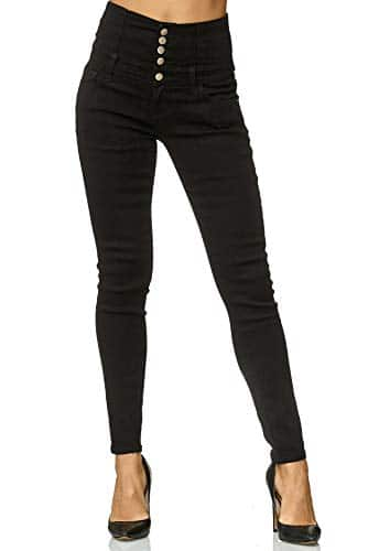 3012 1 elara damen stretch jeans skin | Elara Damen Stretch Jeans Skinny High Waist Chunkyrayan Y6109 Black 48 (4XL)