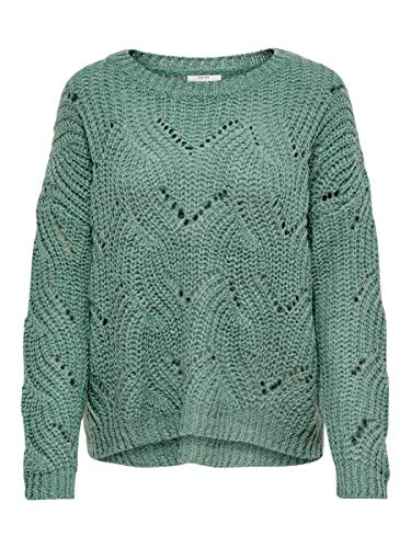 3324 1 only female strickpullover det | ONLY Female Strickpullover Detailreicher MChinois Green