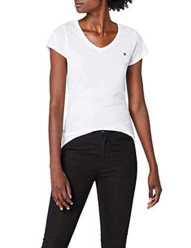3480 1 g star raw damen eyben slim v | G-STAR RAW Damen Eyben Slim V T Wmn S/S T-Shirt, Weiß (White 110), 42 (Herstellergröße:XL)