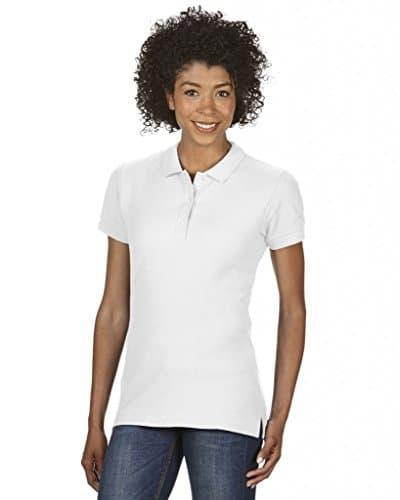 3485 1 gildan damen ladies premium c   Gildan Damen Ladies' Premium Cotton Double Piqué Polo/85800L Poloshirt, Weiß (White 30), 40 (Herstellergröße: L)