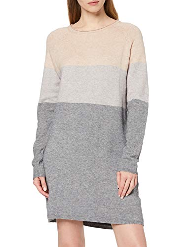 3604 1 only damen onllillo l s dress | ONLY Damen ONLLILLO L/S Dress KNT NOOS Kleid, Mehrfarbig (Mahogany Rose Detail: W Melange/Light Grey Melange/Medium Grey Melange), Small