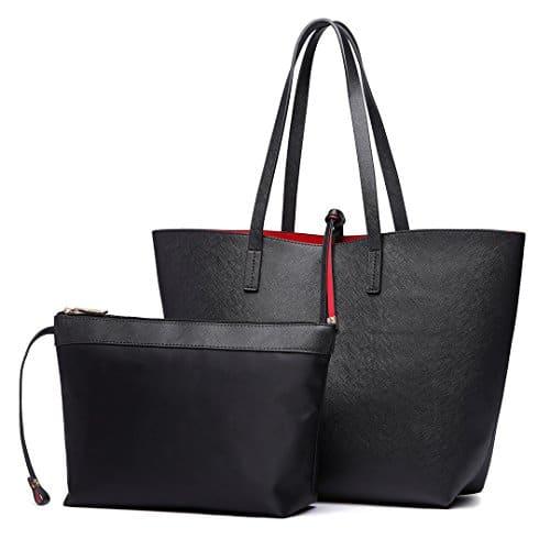 3690 1 miss lulu faschionable tote ba | Miss Lulu Faschionable Tote Bag Shopper Schultertasche Umhängetasche PU-Leder Praktisch (Schwarz)