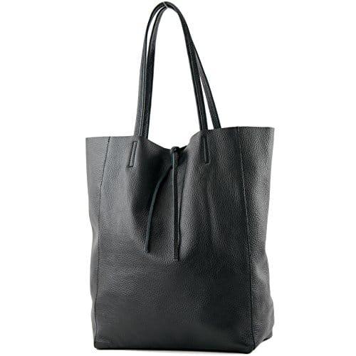 3724 1 modamoda de t163 ital sho | modamoda de - T163 - Ital. Shopper mit Innentasche aus Leder, Farbe:Schwarz