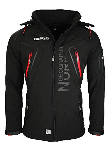 3749 1 geographical norway techno sof | Geographical Norway Techno Softshelljacke Herren, Abnehmbare Kapuze M Schwarz