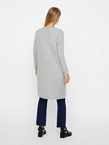 2044 3 vero moda female strickjacke o | VERO MODA Female Strickjacke Open Slight Grey Melange