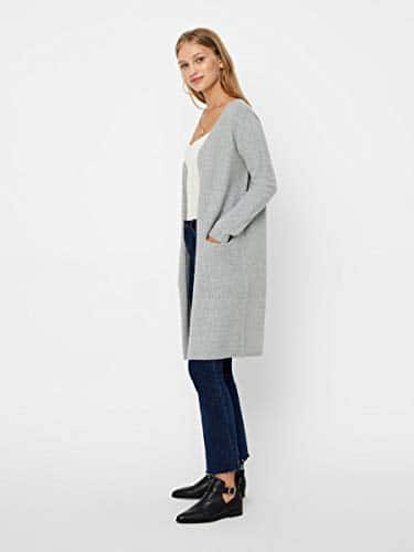 2044 4 vero moda female strickjacke o | VERO MODA Female Strickjacke Open Slight Grey Melange