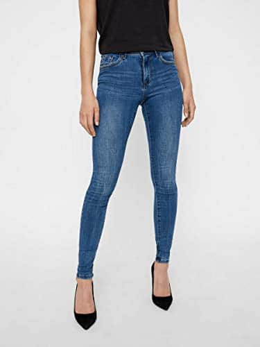 2047 2 vero moda damen vmtanya mr s p | VERO MODA Damen VMTANYA MR S Piping VI349 NOOS Skinny Jeans, Blau (Medium Blue Denim Medium Blue Denim), 38/L30 (Herstellergröße: M)