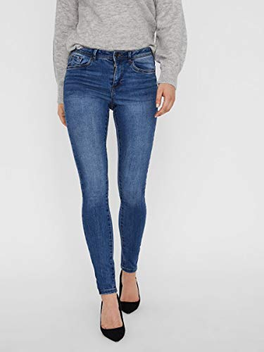 2047 3 vero moda damen vmtanya mr s p | VERO MODA Damen VMTANYA MR S Piping VI349 NOOS Skinny Jeans, Blau (Medium Blue Denim Medium Blue Denim), 38/L30 (Herstellergröße: M)