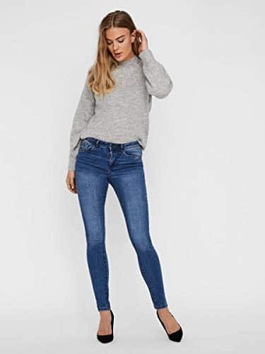 2047 4 vero moda damen vmtanya mr s p | VERO MODA Damen VMTANYA MR S Piping VI349 NOOS Skinny Jeans, Blau (Medium Blue Denim Medium Blue Denim), 38/L30 (Herstellergröße: M)