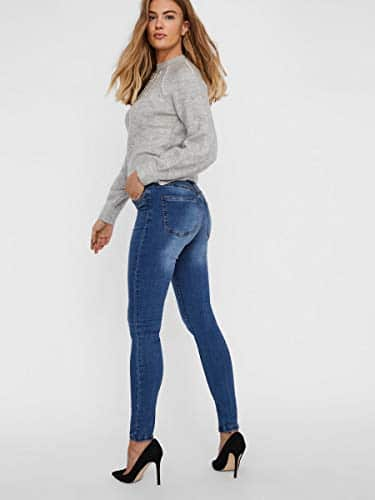2047 6 vero moda damen vmtanya mr s p | VERO MODA Damen VMTANYA MR S Piping VI349 NOOS Skinny Jeans, Blau (Medium Blue Denim Medium Blue Denim), 38/L30 (Herstellergröße: M)