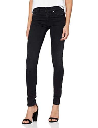 2166 2 replay damen new luz | Replay Damen New Luz Hyperflex Clouds Jeans, Schwarz (Black 098), W25/L32 (Herstellergröße: 25)