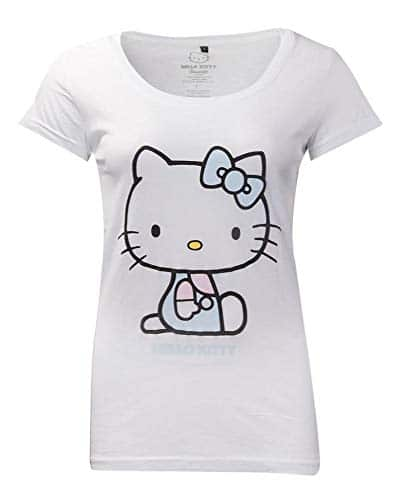 2286 2 difuzed hello kitty ladies t s | Difuzed Hello Kitty Ladies T-Shirt Embroidery Details Size L Sanrio Shirts