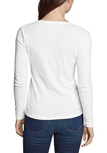 2410 2 eddie bauer damen favorite shi   Eddie Bauer Damen Favorite Shirt - Langarm mit Rundhalsausschnitt, Gr. M (38/40), Weiß