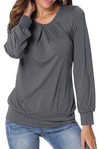 2927 2 flying rabbit damen langarmshi | Flying Rabbit Damen Langarmshirt Damen Langarm T-Shirt Rundhals Falten T-Shirt Casual Stretch Tunika Top Shirts Für Herbst & Frühling (Grau, M)