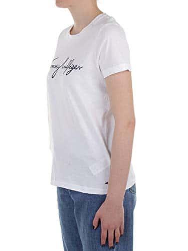 2968 2 tommy hilfiger damen heritage | Tommy Hilfiger Damen HERITAGE CREW NECK GRAPHIC TEE Regular Fit T-Shirt, Weiß (Classic White 100), Large ( Herstellergröße: L)