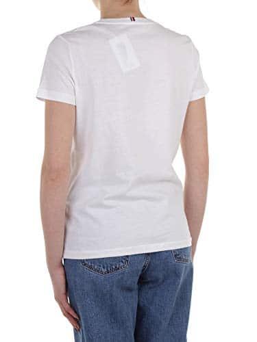 2968 4 tommy hilfiger damen heritage | Tommy Hilfiger Damen HERITAGE CREW NECK GRAPHIC TEE Regular Fit T-Shirt, Weiß (Classic White 100), Large ( Herstellergröße: L)