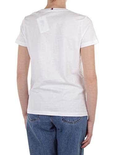 2968 5 tommy hilfiger damen heritage | Tommy Hilfiger Damen HERITAGE CREW NECK GRAPHIC TEE Regular Fit T-Shirt, Weiß (Classic White 100), Large ( Herstellergröße: L)