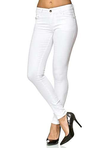 3010 2 elara damen stretch hose push   Elara Damen Stretch Hose Push Up Jeans Gummizug Chunkyrayan Y5110 White 38 (M)