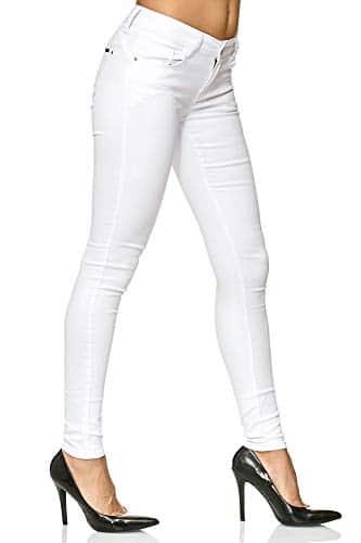 3010 5 elara damen stretch hose push   Elara Damen Stretch Hose Push Up Jeans Gummizug Chunkyrayan Y5110 White 38 (M)