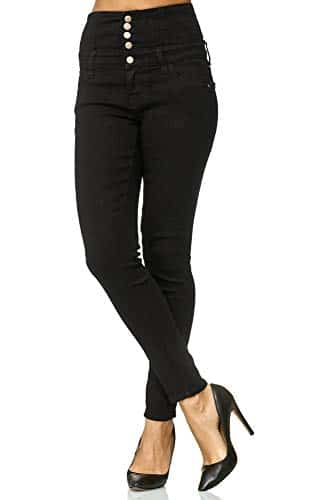3012 2 elara damen stretch jeans skin | Elara Damen Stretch Jeans Skinny High Waist Chunkyrayan Y6109 Black 48 (4XL)