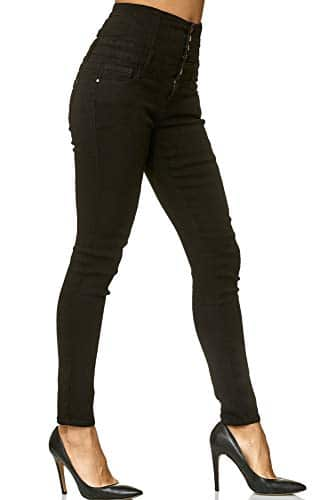 3012 5 elara damen stretch jeans skin | Elara Damen Stretch Jeans Skinny High Waist Chunkyrayan Y6109 Black 48 (4XL)