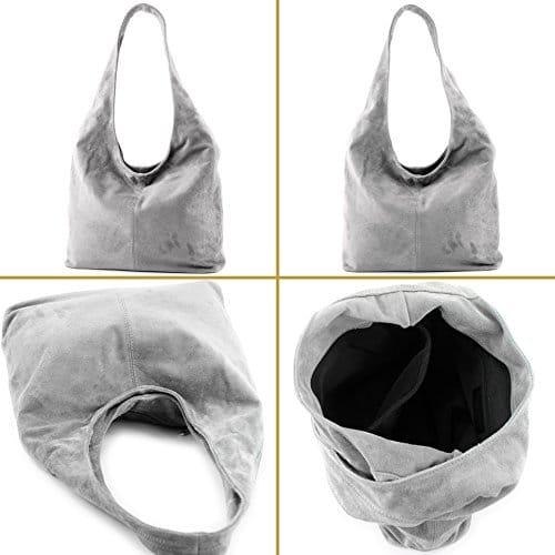 3654 3 modamoda de t150 ital schu | modamoda de - T150 - ital Schultertasche aus Leder Wildleder, Farbe:Dunkelcamel