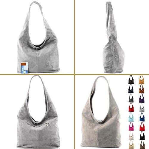 3654 4 modamoda de t150 ital schu | modamoda de - T150 - ital Schultertasche aus Leder Wildleder, Farbe:Dunkelcamel