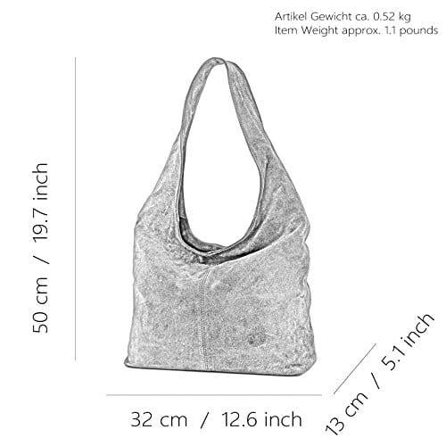 3654 5 modamoda de t150 ital schu | modamoda de - T150 - ital Schultertasche aus Leder Wildleder, Farbe:Dunkelcamel