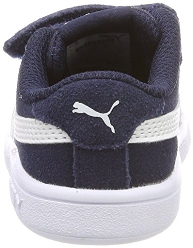 4096 3 puma unisex kinder smash v2 sd | PUMA Unisex Kinder Smash v2 SD V PS Sneaker, Blau (Peacoat White), 33 EU
