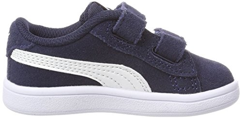 4096 6 puma unisex kinder smash v2 sd | PUMA Unisex Kinder Smash v2 SD V PS Sneaker, Blau (Peacoat White), 33 EU