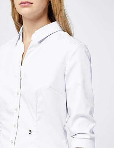 9149 5 seidensticker damen hemdbluse   Seidensticker Damen Hemdbluse Langarm, Weiß (Weiß 01), 38