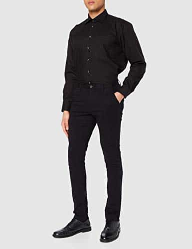 9158 2 seidensticker herren business | Seidensticker Herren Business Hemd Regular Fit Langarm, Schwarz (84), 42