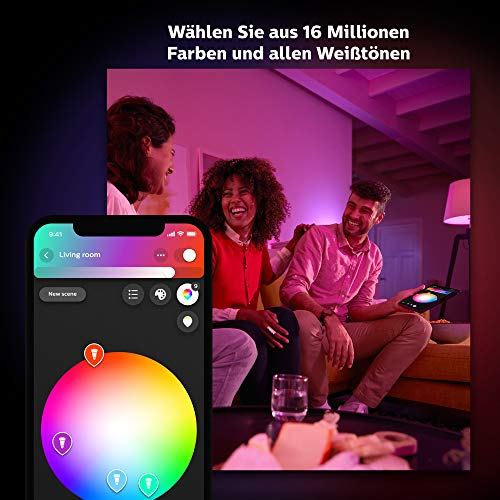 9170 3 philips hue white color ambi | Philips Hue White & Color Ambiance E27 2-er Starter Set Bluetooth, 9 W, dimmbar, 16 Mio. Farben, steuerbar via App, kompatibel mit Amazon Alexa