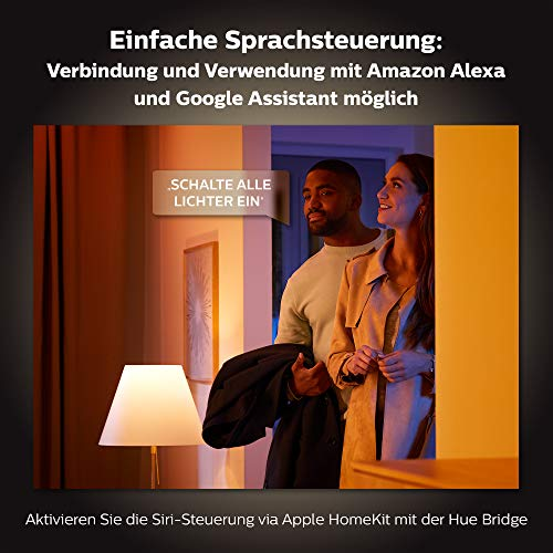 9170 6 philips hue white color ambi | Philips Hue White & Color Ambiance E27 2-er Starter Set Bluetooth, 9 W, dimmbar, 16 Mio. Farben, steuerbar via App, kompatibel mit Amazon Alexa
