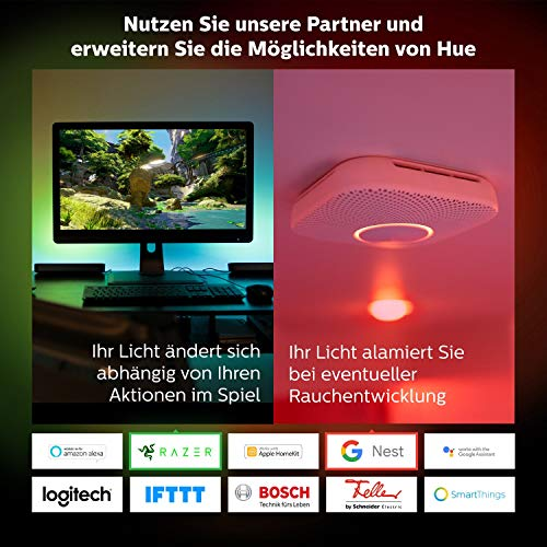 9170 7 philips hue white color ambi | Philips Hue White & Color Ambiance E27 2-er Starter Set Bluetooth, 9 W, dimmbar, 16 Mio. Farben, steuerbar via App, kompatibel mit Amazon Alexa