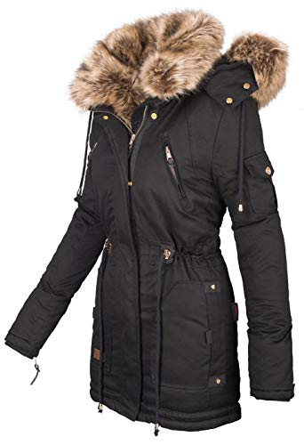 10429 2 navahoo warme damen winter jac | Navahoo warme Damen Winter Jacke Parka lang Mantel Winterjacke Fell Kragen B380 [B380-Daria-Schwarz-Gr.M]