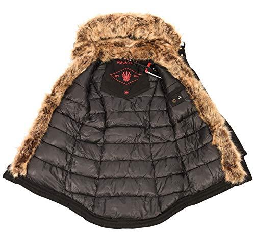 10429 4 navahoo warme damen winter jac | Navahoo warme Damen Winter Jacke Parka lang Mantel Winterjacke Fell Kragen B380 [B380-Daria-Schwarz-Gr.M]
