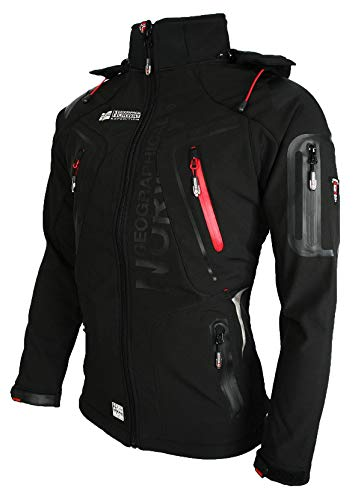 3749 4 geographical norway techno sof | Geographical Norway Techno Softshelljacke Herren, Abnehmbare Kapuze M Schwarz