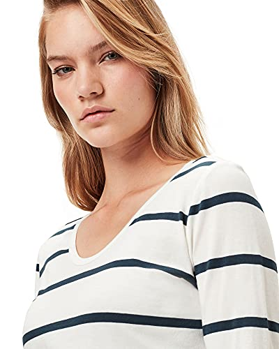 12481 4 g star raw womens core eyben s | G-STAR RAW Womens Core Eyben Slim T-Shirt, Milk/Vintage Navy Stripe C483-C088, XL