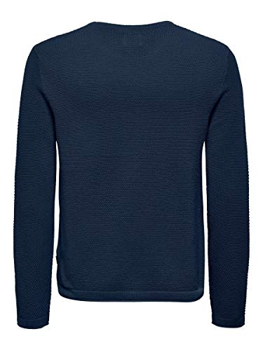 13555 2 only sons male strickpullove | ONLY & SONS Male Strickpullover Struktur LDress Blues