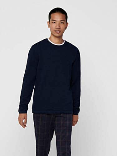 13555 3 only sons male strickpullove | ONLY & SONS Male Strickpullover Struktur LDress Blues