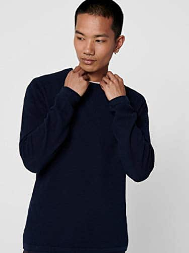 13555 6 only sons male strickpullove | ONLY & SONS Male Strickpullover Struktur LDress Blues