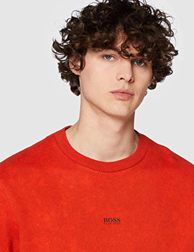 14057 5 boss herren wash sweatshirt o | BOSS Herren Wash Sweatshirt, Orange (Dark Orange 805), Large (Herstellergröße: L)