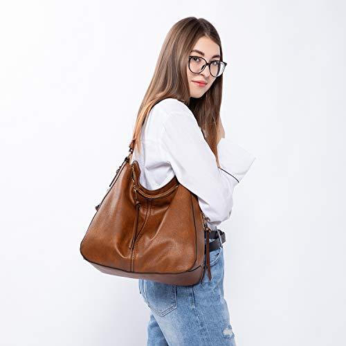 3655 2 handtaschen damen lederimitat   Handtaschen Damen Lederimitat Umhängetasche Designer Taschen Hobo Taschen groß Mit Quasten Braun