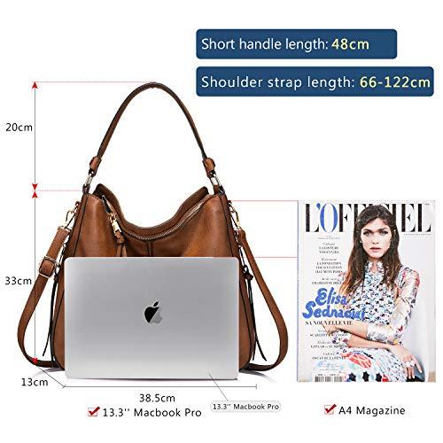 3655 3 handtaschen damen lederimitat   Handtaschen Damen Lederimitat Umhängetasche Designer Taschen Hobo Taschen groß Mit Quasten Braun